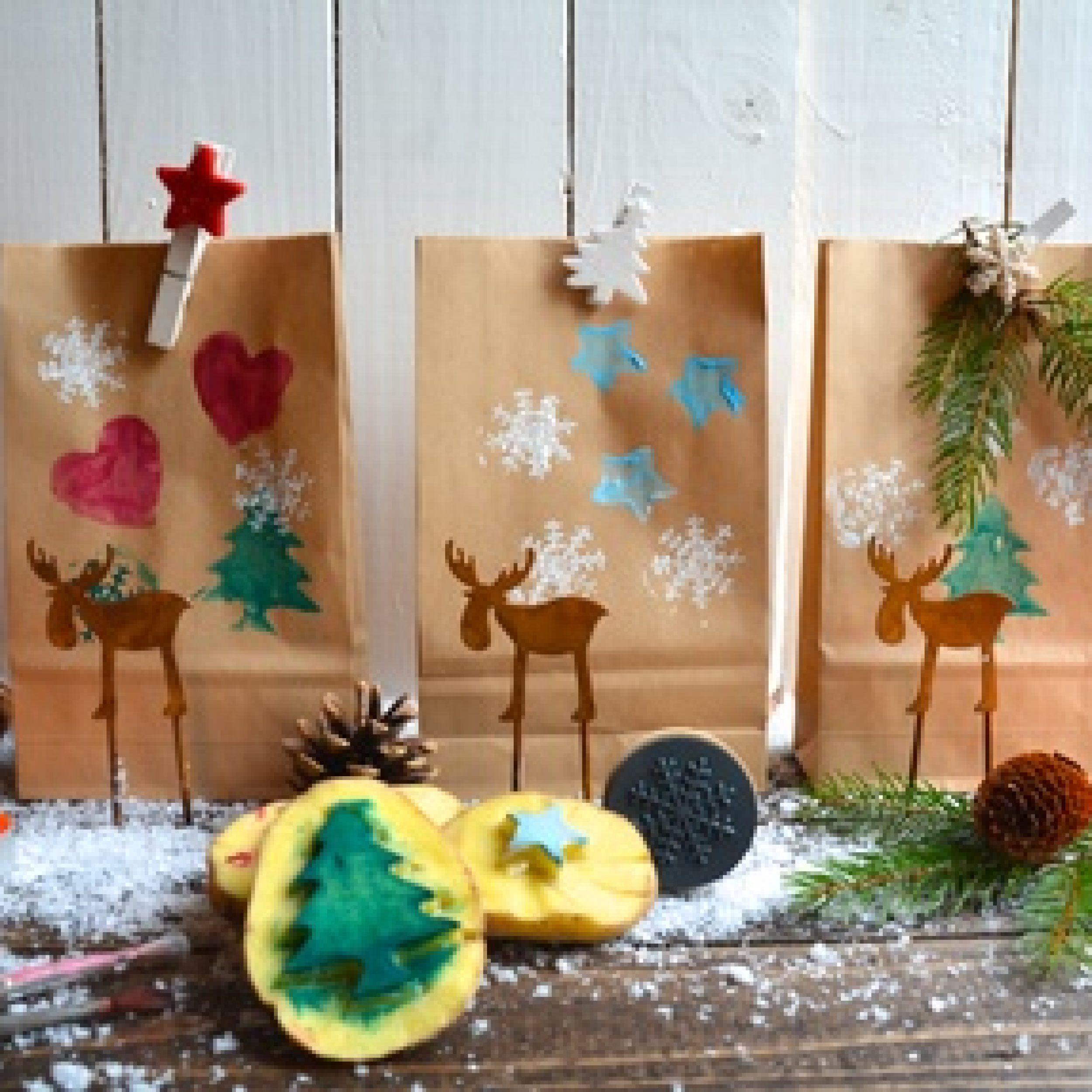 Grußkarte - Geschenke  - Kartoffeldruck